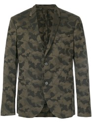 Neil Barrett Camouflage Blazer Men Cotton Polyester Viscose 50 Green