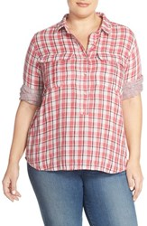 Plus Size Women's Caslon Print Three Quarter Sleeve Shirt Red Plaid