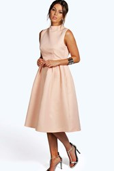 Boohoo Boutique High Neck Prom Dress Nude