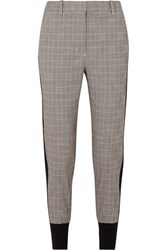 3.1 Phillip Lim Ribbed Knit Trimmed Checked Wool Blend Track Pants Gray