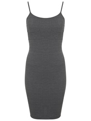 Miss Selfridge Jacquard Strappy Dress Mid Grey