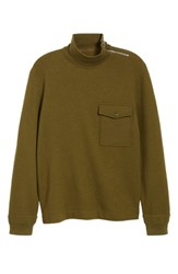 J.Crew Wallace And Barnes Felted Merino Wool Mock Neck Pullover Orchard Green