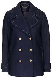 Topshop Wool Blend Pea Coat Navy Blue