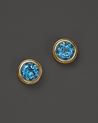 Bloomingdale's Blue Topaz Bezel Set Stud Earrings In 14K Yellow Gold Blue Gold