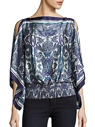 Max Studio Cascade Boatneck Blouse Navy Multi