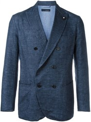 Lardini Double Breasted Woven Blazer Blue