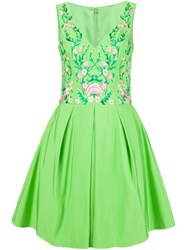 Marchesa Notte Embroidered Flower Dress Green