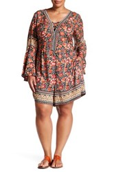 Angie Bell Sleeve Print Romper Plus Size Multi