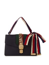 Gucci Sylvie Leather Shoulder Bag Navy