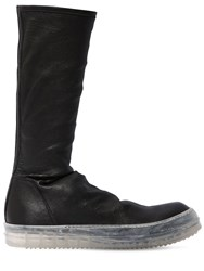 Rick Owens Black High Top Stretch Leather Sneakers