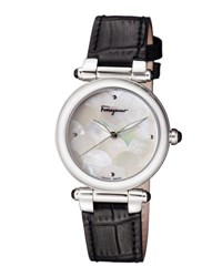 Salvatore Ferragamo 34Mm Idilllio Watch W Mother Of Pearl Dial And Leather Strap Black
