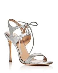 Pour La Victoire Elisa Metallic Lace Up High Heel Sandals Silver