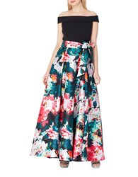 Tahari By Arthur S. Levine Off The Shoulder Floral Ball Gown Black Emerald