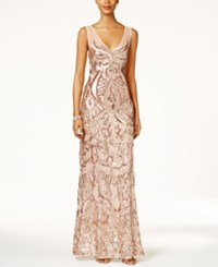 Adrianna Papell V Neck Sequined Illusion Gown Rose Gold