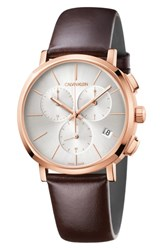 Calvin Klein Posh Chronograph Leather Band Watch 42Mm Brown Silver Rose Gold