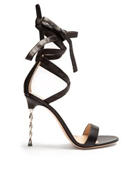 Gianvito Rossi Cocktail Ankle Tie Leather Sandals Black