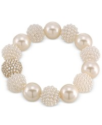 Carolee Gold Tone Imitation Pearl And Fireball Stretch Bracelet
