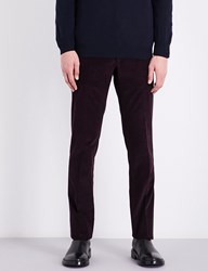 Corneliani Academy Fit Mid Rise Stretch Cotton Corduroy Trousers Aubergine