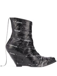 Unravel Project Logo Tape Wedge Boots Black