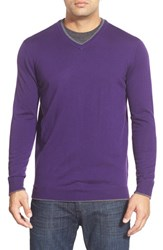 Men's Bugatchi Tipped Merino Wool V Neck Sweater Plum