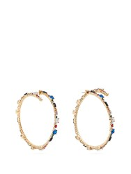 Valentino Crystal Hoop Earrings Multi