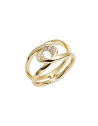 Nadri Crystal Pave Oval Stacked Ring Gold