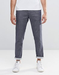 Scotch And Soda Trousers In Textured Pattern Blue We