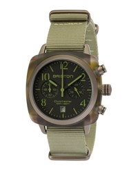 Briston Clubmaster Classic Chronograph Watch Brown Green Brown Green