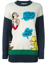 Jc De Castelbajac Vintage Embroidered Olive Oyl Jumper White