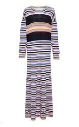 Barrie Striped Cashmere Maxi Dress