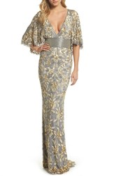 Mac Duggal 'S Sequin And Bead Embellished Gown Platinum Gold