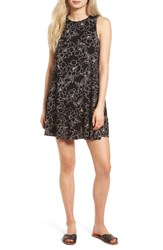 Socialite Women's High Neck Dress Black Tropical Print