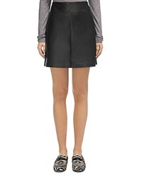 Whistles Leather A Line Skirt Black
