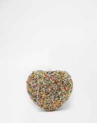 Moyna Heart Clutch In Multicoloured Beads