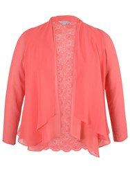 Chesca Lace Back Shrug Red Coral