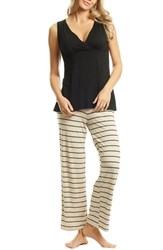 Everly Grey Roxanne During And After 5 Piece Maternity Sleepwear Set Sand Stripe