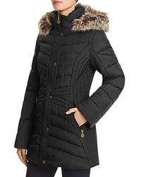 Anne Klein Long Faux Fur Trim Hooded Jacket Compare At 260 Black