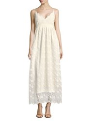 Molly Bracken V Neck Botanical Lace Maxi Dress Off White