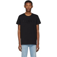 Balmain Black Logo Applique T Shirt