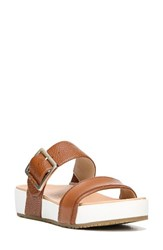 Dr. Scholl's Women's Original Collection 'Frill' Slide Sandal Saddle Tan Leather