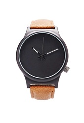 Forever 21 Faux Leather Analog Watch Black Brown