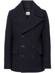 Burberry Wool Blend Pea Coat Blue