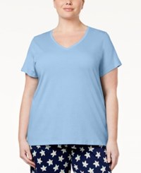 Hue Plus Size V Neck Pajama T Shirt Blue