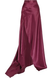 Michael Lo Sordo Empress Asymmetric Silk Satin Maxi Skirt Merlot
