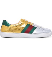 Gucci New Ace Metallic Snakeskin Leather Trainers Gold Comb