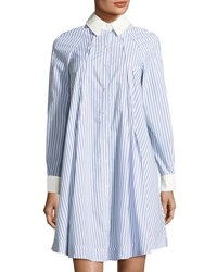 Neiman Marcus Striped Swing Shirtdress White