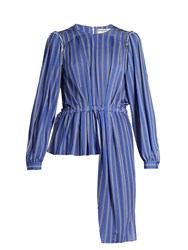 Balenciaga Striped Jersey Blouse Navy Stripe