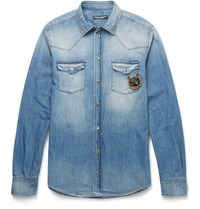 Dolce And Gabbana Slim Fit Appliqued Washed Denim Western Shirt Mid Denim