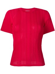 Barrie Short Sleeve Ribbed Sweater Pink