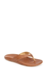 Olukai 'Wana' Leather Thong Sandal Women Brown Rattan